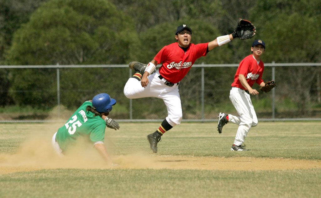 Josh Fritsch continued to test the quickness of the Indians as he slides back to second last Sunday.