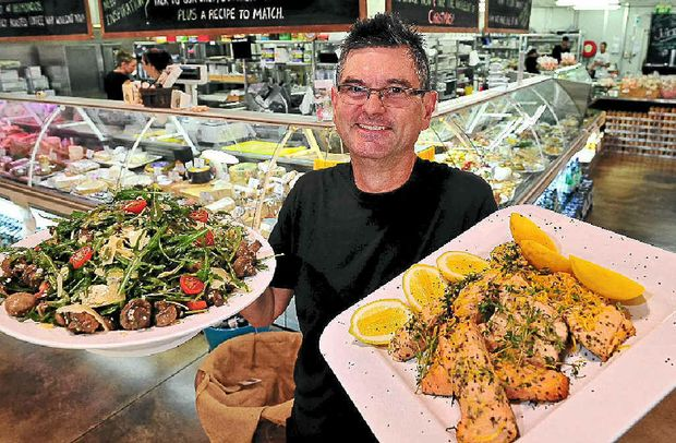 Belmondo's head chef Patrick Williams with some of the tasty foods on offer.