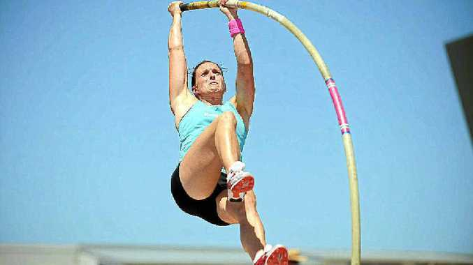 2010 Commonwealth Games pole vault gold medallist Alana Boyd training at the University of the Sunshine Coast.