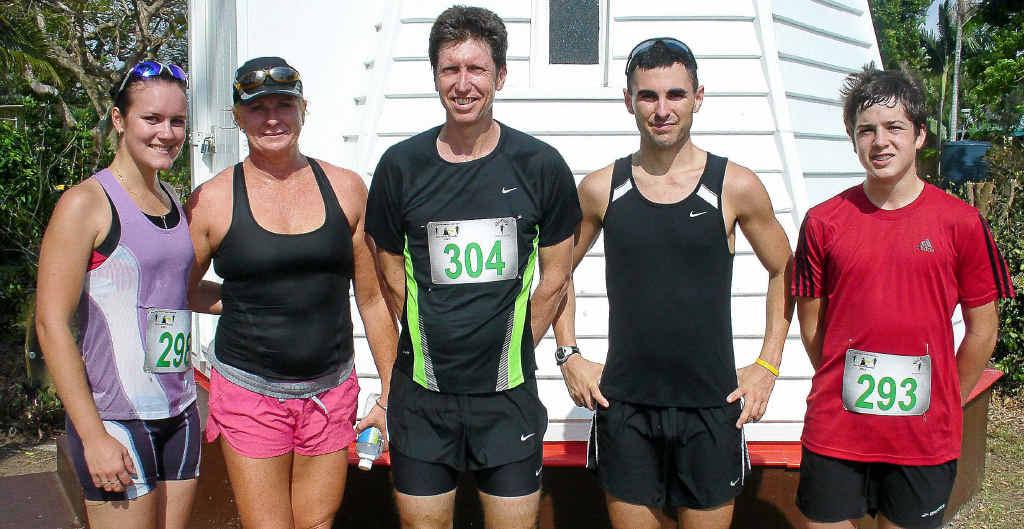 Lighthouse Series round two 10km winners - Rebecca Jenner (open women), Gaelene Penny (40 years-plus women), Glenn Cooper (40 years-plus men), Drew Williams (open women), Jonathon Hoffmann (under-18 men).