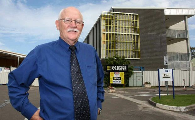 Sunshine Coast TAFE's Ross Hepworth outside the new and old TAFE buildings.