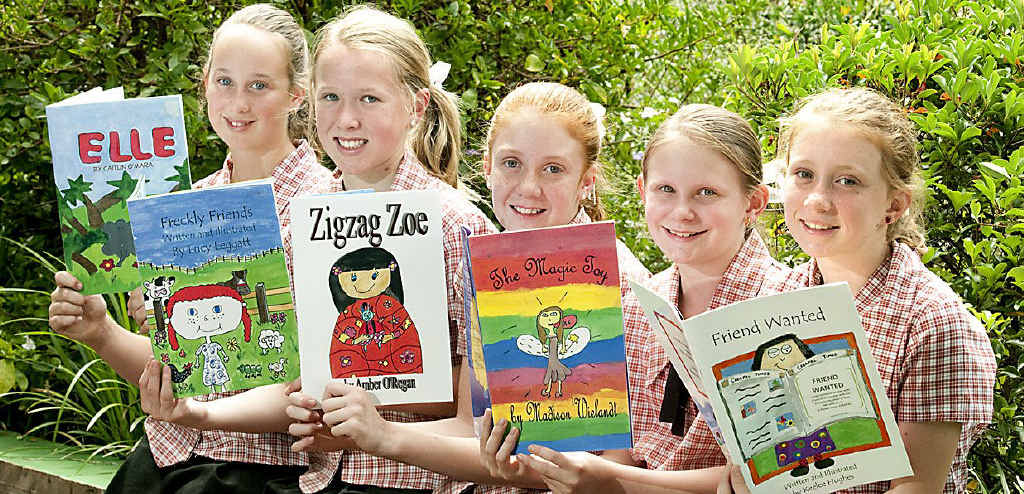 Students (from left) Caitlin O'Mara, Lucy Leggatt, Amber O'Regan, Madison Weilandt and Keelee Hughes had lots of fun writing and illustrating their books for Jetstar's new in-flight entertainment.