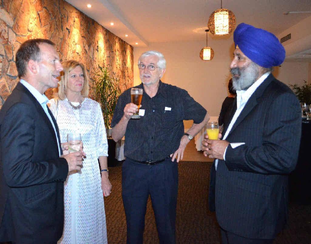 Cr John Arkan (right) chats to Federal Opposition leader Tony Abbott (left).