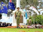 A solider stands at attention during the Murwillumbah Rememberance Day service.