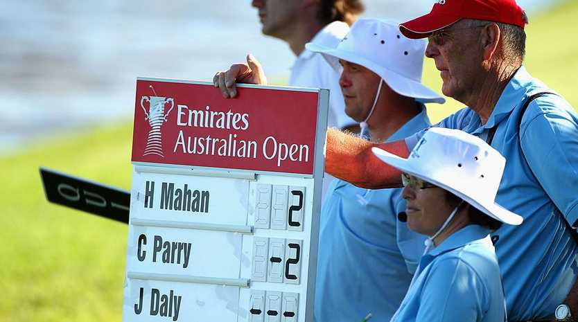 The scoreboard shows a no score for John Daly of the USA after he withdrew during day one of the 2011 Australian Open at The Lakes Golf Club at The Lakes Golf Club on November 10, 2011 in Sydney, Australia.