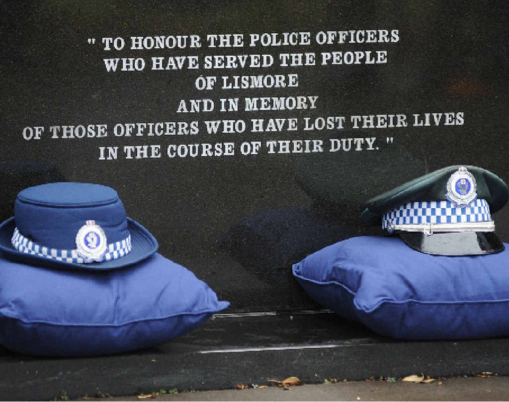 Police hats at the police memorial in Molesworth St, Lismore as part of the recent National Police Remembrance Day.