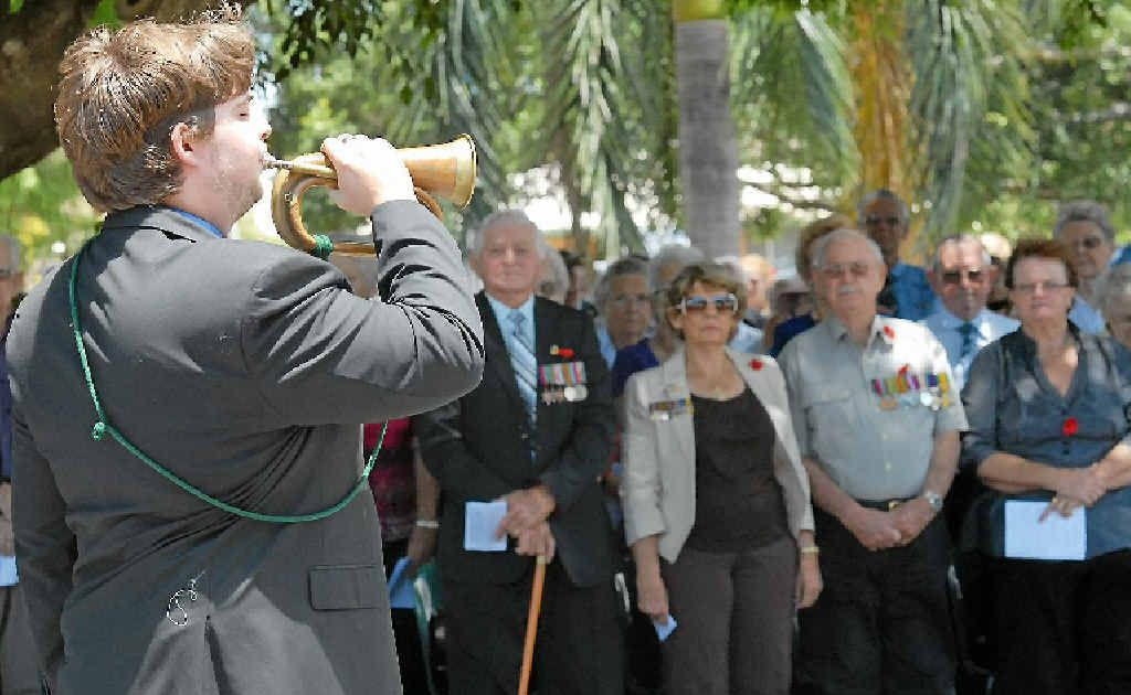 Bugler Kenneth Brown plays The Last Post at the Mackay Remembrance Day ceremony.