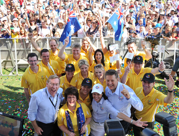 Queensland celebrates after the Gold Coast is announced as the host for the 2018 Commonwealth Games.