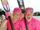 Dragon Abreast Gold Coast members Linda Bristow and Judy Caton are feeling the fire.