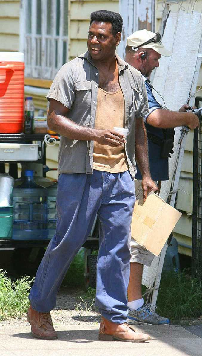 Actor Jimi Bani takes a break from playing the lead role of Eddie Mabo during filming at Rosewood.