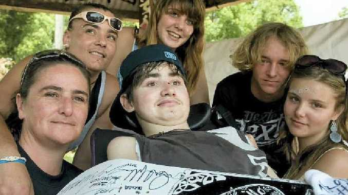 Dakoda-Lee Stainer with his support team of (from left) mum Tess Nelson, Jeleta Robson, sisters Saasha and Jasmine and friend Matt O'Neill (second from right).