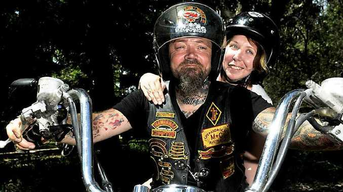 "Life and Death Motorcycle Club member Cory ""Mumbles"" Brady takes Sarah Webster for a ride at Saturday's Help for Seth fundraiser."