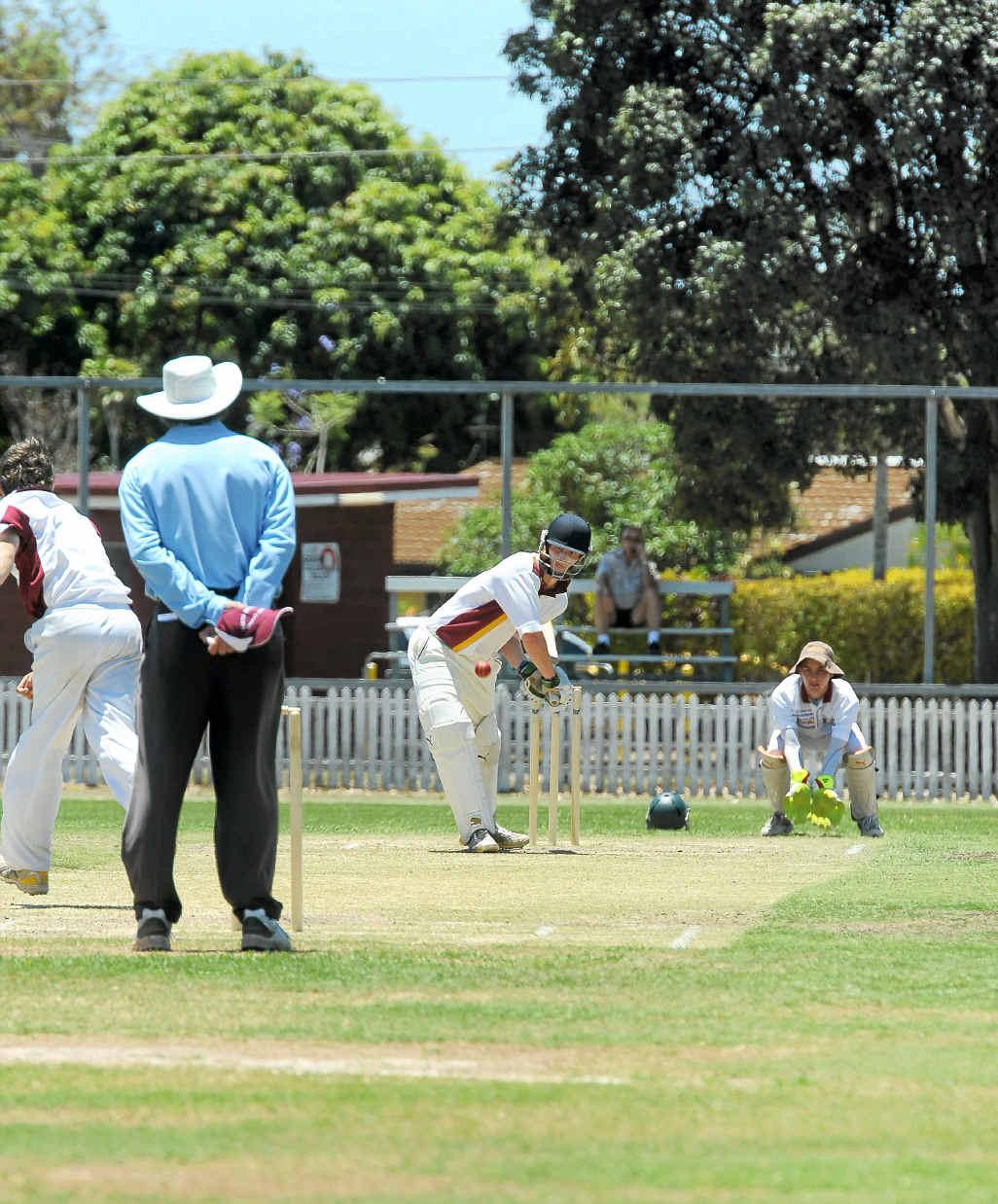 Bundaberg batsman Ben Lanskey faces South Burnett bowler Tim Linnane in the under-19s game at Salter Oval.