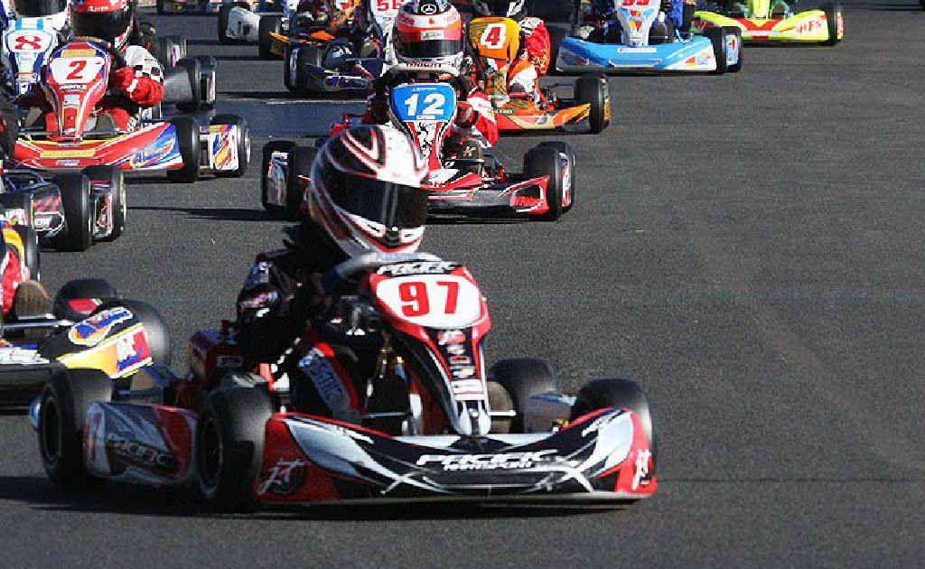 Ipswich Kart Club midget class champion Harrison Hoey revs up at Willowbank.