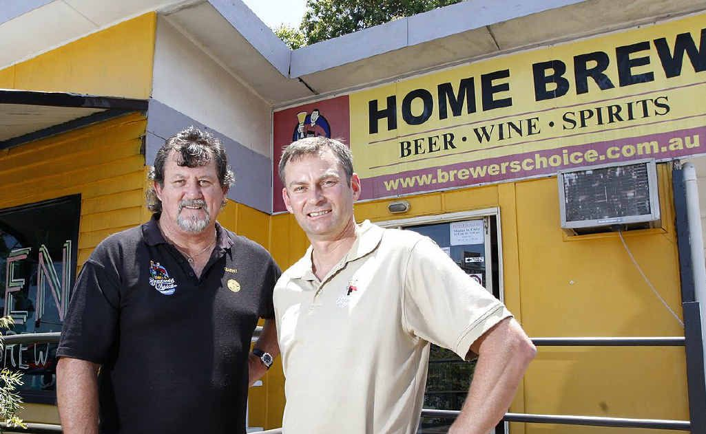 Brewers Choice Yamanto manager Garry Rodgers with the owner David Kitchen outside the rebuilt shop after serious damage was caused by thieves in early October.