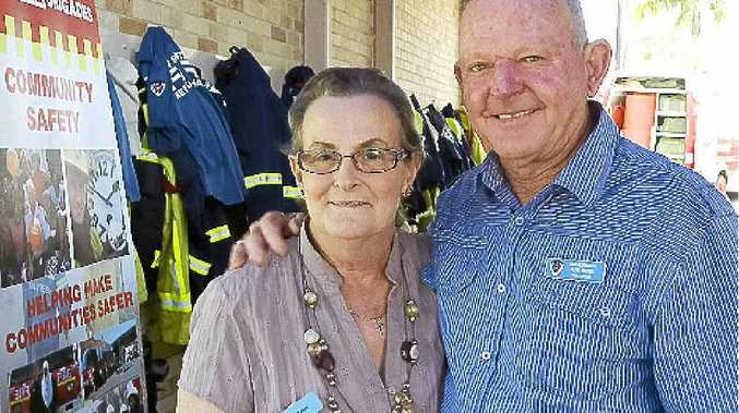 Pam and Allan Brown get together with old colleagues at the annual retired firefighters reunion, held at the Goonellabah fire station.