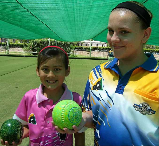 Young bowlers Sarah O'Leary and Isabelle Schafferius are part of the future for North Rockhampton Bowls Club.