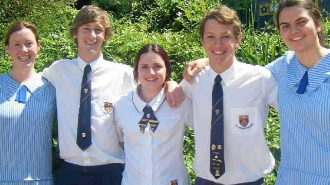 St Joseph's College 2011 Dux of the Year Rachel Kluck (right) with other award recipients (from left) Emily Kelly, Aidan Whish, Ashleigh Sullivan and Jack Selman.