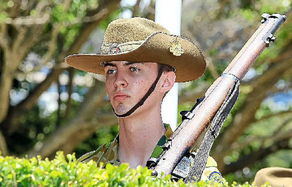NEXT GENERATION: Army cadets at the Burleigh Heads Remembrance ceremony.