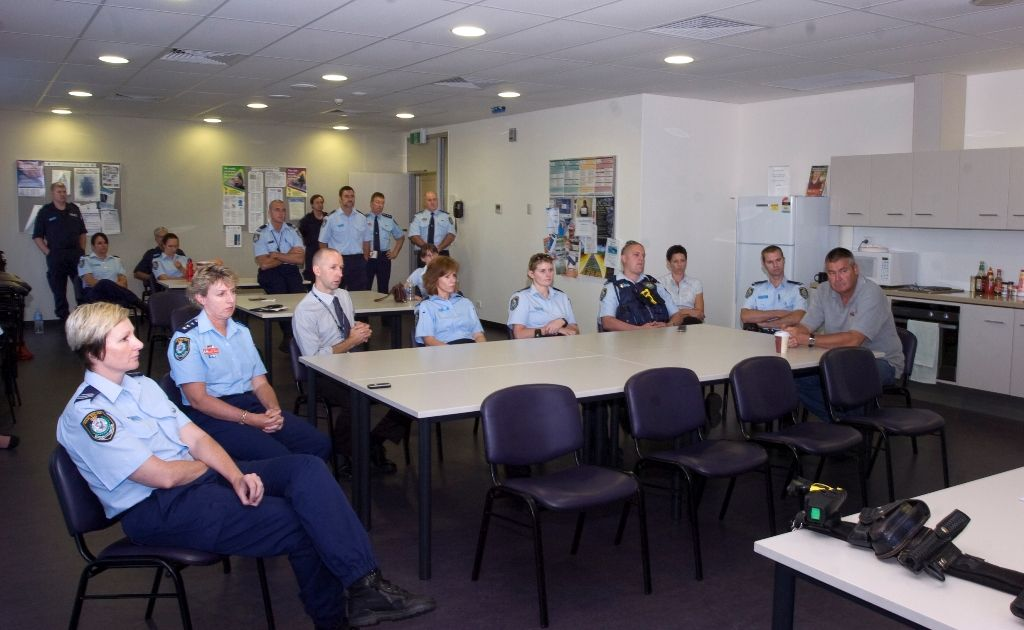 Lismore police officers discuss controversial changes to the overhaul of the death and disability scheme at a Police Association meeting at Lismore Police Station.