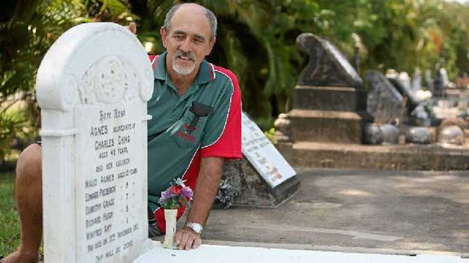 The headstone featuring the names of the six victims of the Alligator Creek tragedy is a stark reminder to descendents of the survivors, like Lance Steindl.