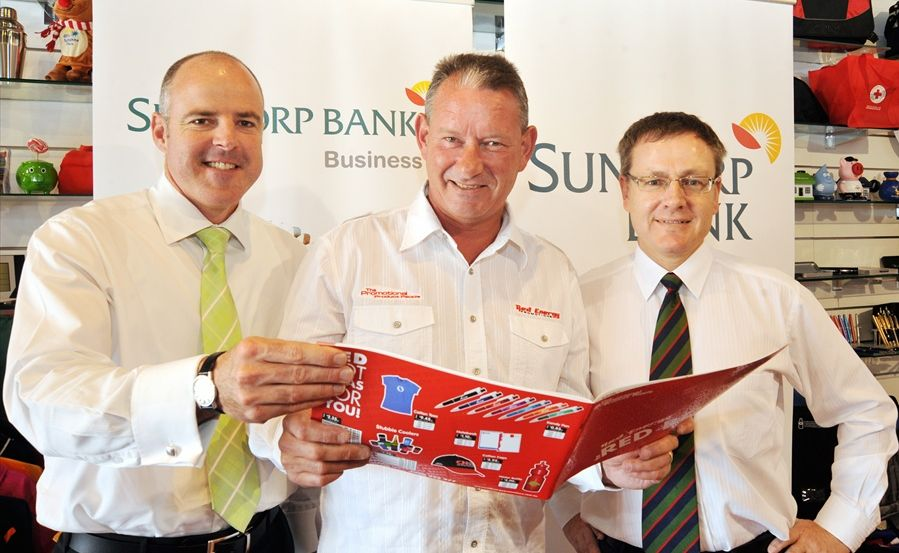 John Leach (centre) from Red Energy Promotions with David Carter (left) and David Marshall from Suncorp at the survey launch.