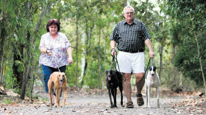 Tracey Pike with racing greyhound Xena and her father, Ray Pike, with recently retired greyhounds, Molly and Wendy, who are looking for a new home.