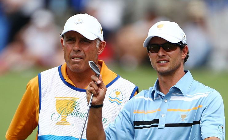 Adam Scott with caddie Steve Williams at last year's Presidents Cup.