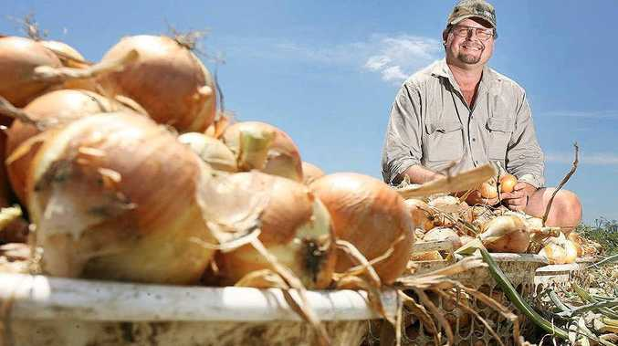 Kalfresh managing director Robert Hinrichsen with the Queensland onion which is getting a plug in a national advertising campaign encouraging people to buy local produce.