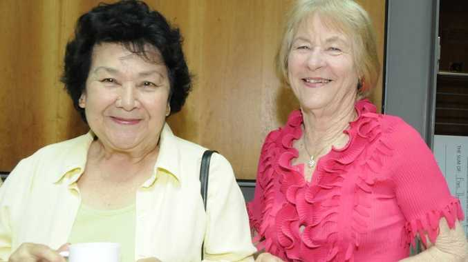 Vivienne Ruffini (left) and Del Wagland enjoy a cuppa at the morning tea.