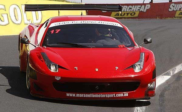 The Ferrari 458 GT3 tackles Mount Panorama.