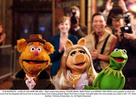 Fozzie the Bear, Miss Piggy and Kermit the Frog in a scene from The Muppets movie. Supplied by UPI Media.