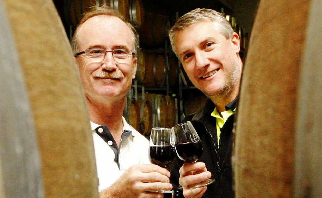 Warrego Wines managing director Kevin Watson (left) and wine maker Jason Hannay are leaving Marburg.