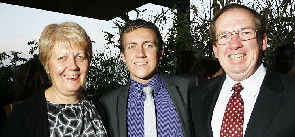 Glen Yarham (centre) with proud parents Maree and Geoffrey at the QT Sports Awards.