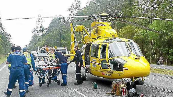 A file photo of the Westpac Rescue Life Saver Helicopter in action. A pilot shortage grounded the helicopter while Canadian tourist needed rescuing at Whian Whian Falls, Dunoon.