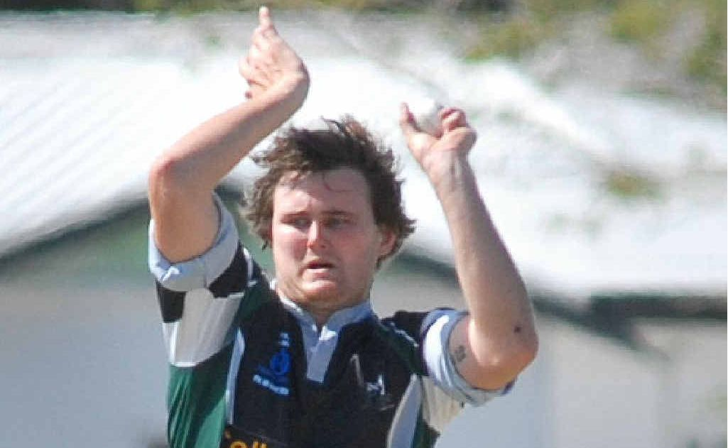 Farleigh Magpies bowler Trent Rawlins is airborne as he bowls against Brothers.
