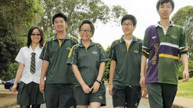 Centenary Heights State High School international year 12 students who exceeded this year include (from left) Amy Lee Tai Chin, Prince Tan Tao, Cathy Xu Lin, Charlie Park Jeong Ung and Luyi Chen.