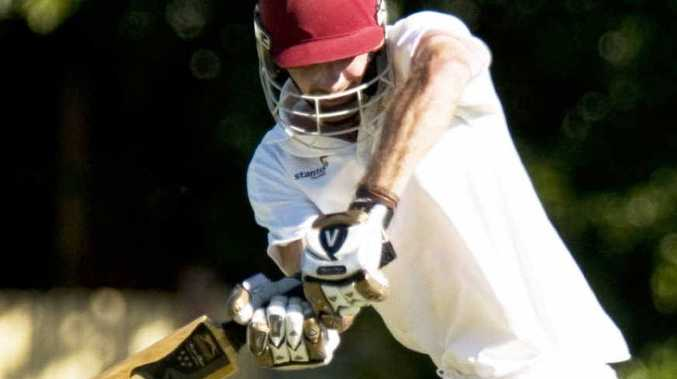 Matthew Dennis bats against Northern Brothers Diggers on Saturday on his way to top-scoring for the Trojans with 45.