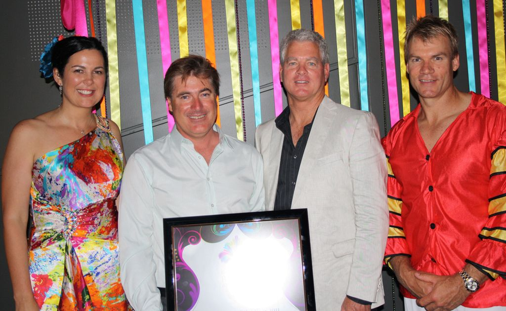 Sunshine Coast Excellence in Business Awards. From left, MC Samille Muirhead, Hahn Environmental Services' Allan Lear, councillor Lew Brennan and MC Richard Champion.
