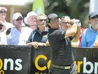 Steven Bowditch held a charity golf day at Twin Waters golf club. Steven Bowditch takes a big hit.