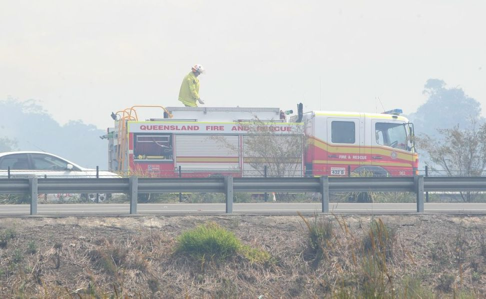 A burnoff on the side of the Sunshine Motorway at Maroochydore caused a smokey haze for drivers.