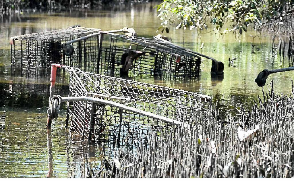 Missing trolleys, like these in Tweed Heads South creek, can now be returned by using a smart-phone application.