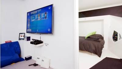 The 'room of the future' is divided into two spaces – rest and entertainment.