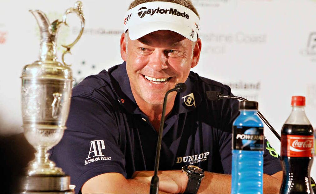 Darren Clarke brings out the Claret Jug for yesterday's press conference at Coolum.
