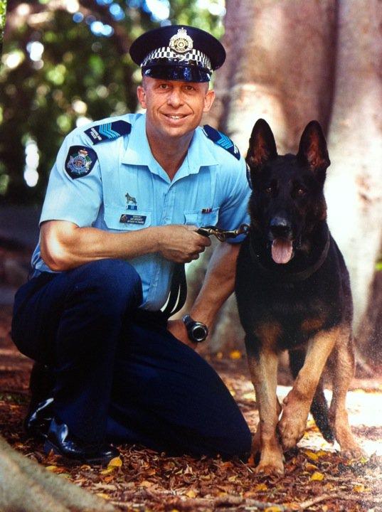 Dog squad chief Sergeant Ian Grigoris and Quattro.