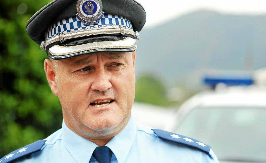 Coffs Clarence Crime Manager Detective Inspector Cameron Lindsay briefs media.
