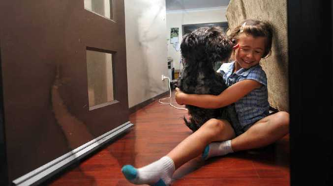 Kelly Price's daughter Tori and the family dog Harley, with one of the many flyscreen doors Harley has torn when scared by storms.