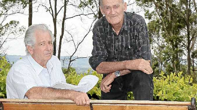 Farmers Brian Suffolk (left) and Fred Hoskins of Tucki are opposed to Lismore City Council's draft Koala Plan of Management.