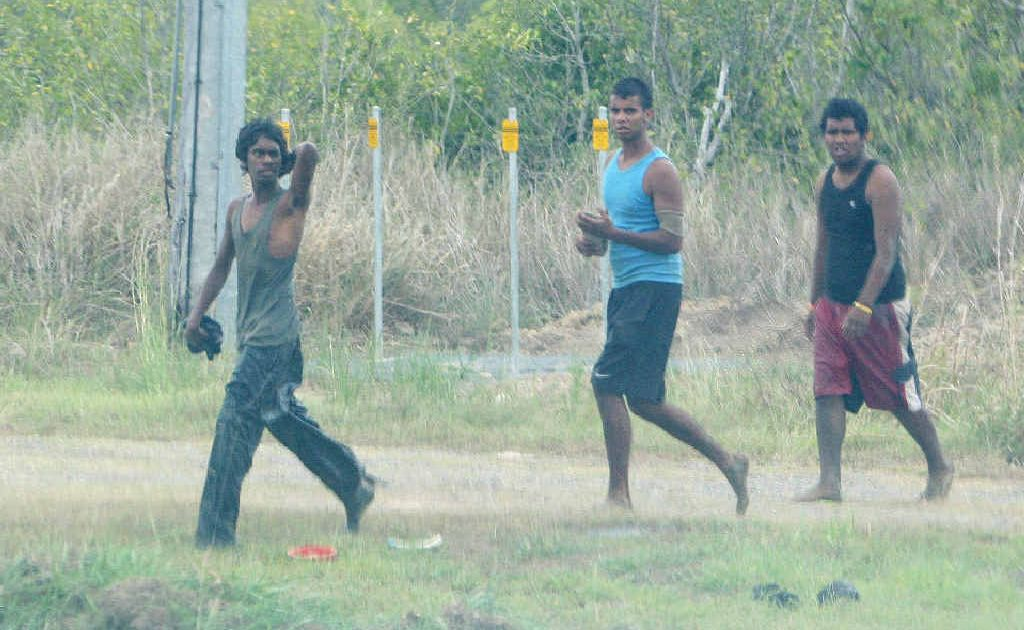 Three of the joy-riders caught at Alligator Creek are (from left) Terrance George, Brendan Jerome and Barry Turbane.