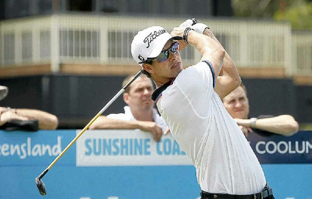Australia's Adam Scott, the world No.7, tees off in yesterday's Pro Am at Coolum.